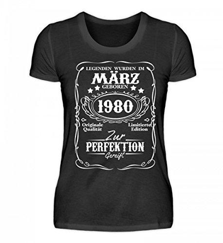 Shirtee Hochwertiges Damen Organic Shirt - Legenden März Geburtstag Geschenk 1980 Schwarz