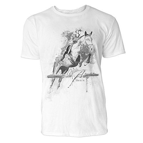 Pferdesport frontal Sinus Art ® Herren T Shirt ( Schwarz Weiss ) Sportshirt Baumwolle