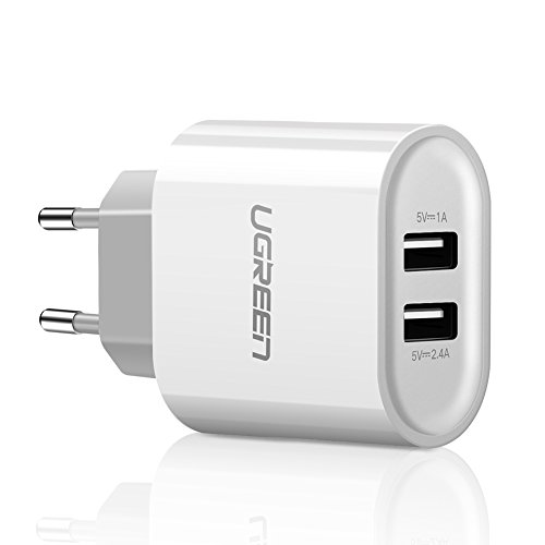 UGREEN 2 Ports USB Chargeur Adaptateur Secteur USB Mural Universel 17W pour iPhone XS Max XR Huawei P20 Honor 10 Galaxy S9 A8 Tablette Smartphone Téléphone (Blanc)
