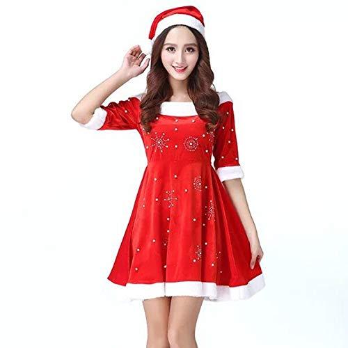 Shisky Weihnachtskostüme, Weihnachtskostüm Plus Fett Beflockung Weihnachten Mädchen große Code Cosplay Set