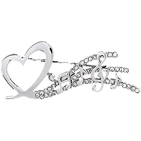 Encanto del compinche para mujer música con corazón Broche de nota Musical Clave de diamantes de imitación de cristal