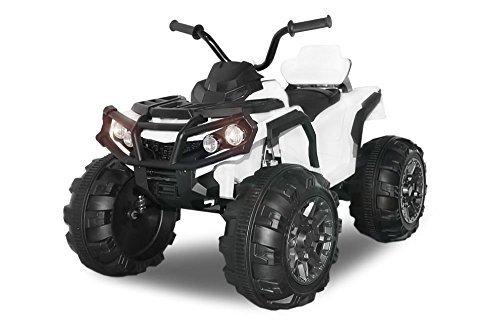 Kinder Elektro Offroad ATV Geländewagen 2x 35W 12V Auto Quad Kinderfahrzeug (Weiss)
