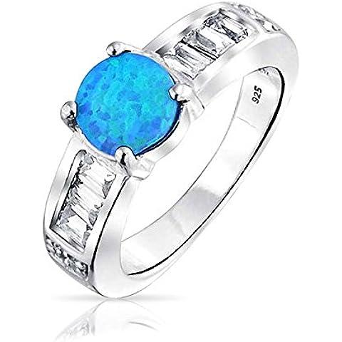 Bling Jewelry Sintetico opale blu rotondo intarsio ottobre Birthstone anello Argento 925 Incisione gratuita