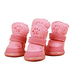 Pink, 1 : Dog Cotton Winter Classic Pet Shoes Puppy Snow Anti-slip Boots Pets Casual Footwear Warm Shoes For Teddy Golden Retriever