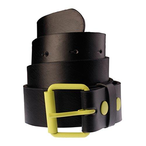 Ceinture en cuir bicolore pour Femme et Homme Masterdis Fasion Prong Belt noir/vert limette - Taille:L