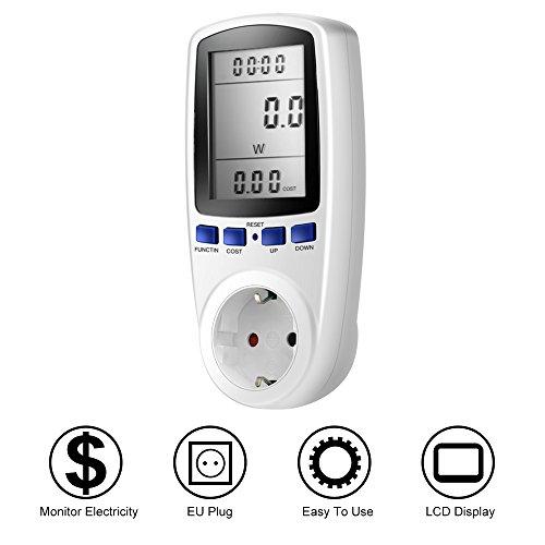 Medidor de energía, Meer Medidor Contador Controlador con Pantalla LCD, Enchufe Multifunción Automática Calcule Consumo Utiliza Voltaje Corriente Tiempo punto