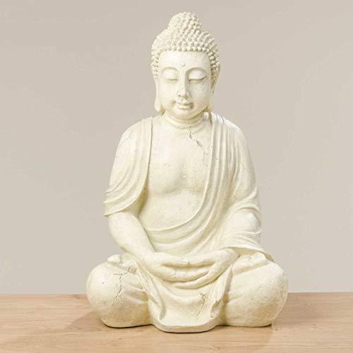 Buddha Gartenfigur 'Tya' 67cm hoch in Weiß, große Buddhafigur im meditativen Lotussitz, pflegeleichte Gartendeko, Feng Shui Dekoration für eine harmonische Gartenumgebung oder asiatische Wohndeko