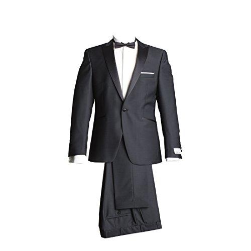 WILVORST Anzug Smoking Sakko Smoking Hose ohne Bundfalte Schwarz Drop8 Extra Schmal Tailliert Geschnitten Runder Schalkragen 63% Wolle 26% Polyester 7% Polyamid 4% Elasthan 270g 48 (Schalkragen-hosen-anzug)