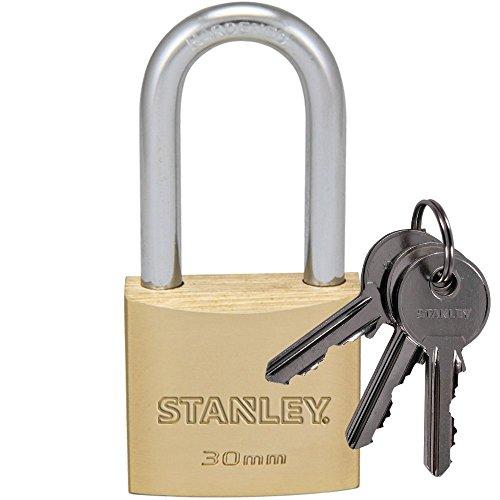 STANLEY Solid Brass Vorhangschloss 30 mm mit hohem Bügel, 3 Schlüssel, S742-042, Schloss, Bügelschloss