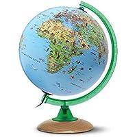 Kinderglobus KS 2525: Globus für Kinder mit vielen Abbildungen, 25 cm Durchm., heller Echtholzfuß, Meridian grün, inkl…