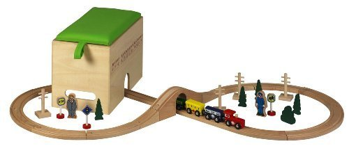 Kids Toy Holz Eisenbahn Set Spielzeug Zug 35 Teile inkl. Box + Brücke