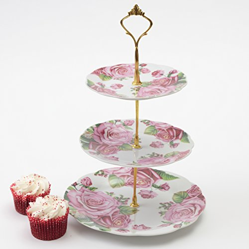 3 Tier Floral Display Cake Stand Pink Rose Cup Cakes