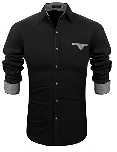 Hasuit Men's Fashion Regular Fit Dress Shirt Long Sleeve Casual Shirts