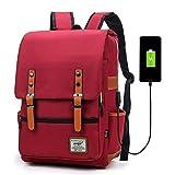 Junlion Mochila Portátil para Negocios Unisex Mochila Escolar para Estudiantes Universitarios Mochila de Viaje Mochila con Puerto de Carga USB Rojo