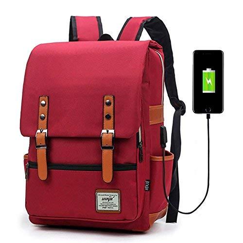 Junlion Unisex Business Laptop Rucksack College Student Schultasche Travel Rucksack Daypack mit USB Ladeanschluss Rot