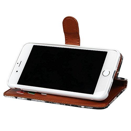 """Wallet Case Hülle für iPhone 7 Plus, xhorizon FM8 Blumenmuster Leder Brieftasche Fall Mit Perfektion Prime Design für iPhone 7 plus (5.5"""") grau"""