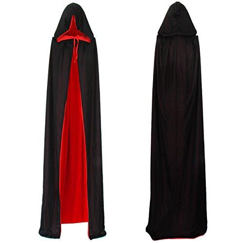 Imagen de vampiro capa de vampiro cabo reversible con capucha negro rojo cabo 90cm 170cm larga capa con capucha para adultos de disfraces de halloween drácula del cabo 170cm de largo  alternativa