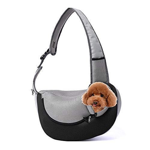 Womdee Pet Sling Carrier, Traspirante Mesh Regolabile da Viaggio all' Aperto Borsa a Tracolla Singola per Cucciolo di Cane Gatto