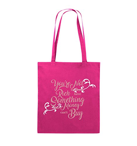 Comedy Bags - You're not rich until you have something that money can't buy - Jutebeutel - lange Henkel - 38x42cm - Farbe: Schwarz / Weiss-Neongrün Pink / Rosa-Weiss
