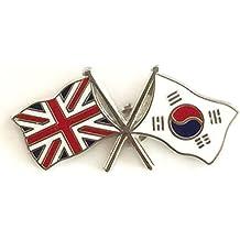 Grande-Bretagne & drapeaux Corée du Sud d'amitié avec Pin's (épinglette Badge en émail
