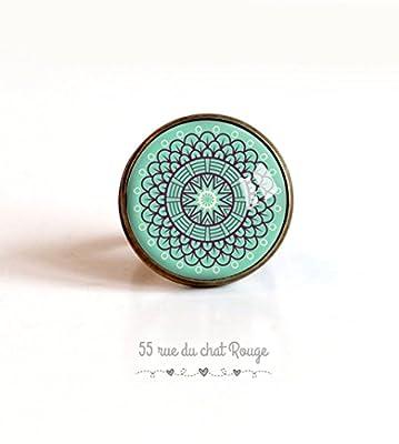 Bague cabochon 20 mm esprit Maroc, Bleu tendre, bleu turquoise