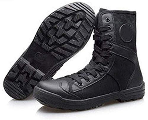 Stivali stivali dell'esercito high-top traspirante stivali neri di combattimento di combattimento stivali addestramento tattico quattro stagioni stivali da uomo tela Desert,Black-EU41/255mm/UK7.5