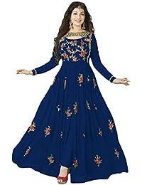 Bigben Blue Georgette Embroidery Designer Anarkali Suits - B077VRX8RL