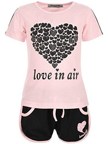Ostern Kleid Set (Kinder Mädchen 2Tlg. Set T-Shirt Wende-Pailletten Kurze Shorts Short Sleeve 30022 Rosa 104)
