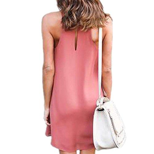 ASCHOEN Damen Casual Minikleid A-line Kleid Sommerkleid Strandkleid Chiffonkleid Partykleid Abbildung 3