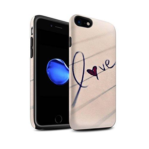 STUFF4 Matte Harten Stoßfest Hülle / Case für Apple iPhone 8 / Birne/Links Muster / Sie & Mich Paare Kollektion Gekritzel/Liebe