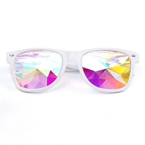 Dragon868 Kaleidoskop Gläser Rave Festival Party EDM Sonnenbrille Beugungslinse (Weiß) (Brillen Ysl)