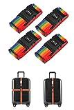 Cinghie per bagagli regolabili in confezione da 4 Cinture per valigie Accessori da viaggio Cinghie per borse con chiusura a combinazione a 3 quadranti