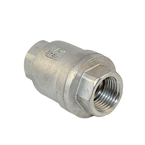 """GlobalMa 1/2"""" Stainless Steel 316 BSPP Female Vertical Check Valve,Spring Loaded In-line Low Cracking Pressure WOG1000 CF8M Test"""