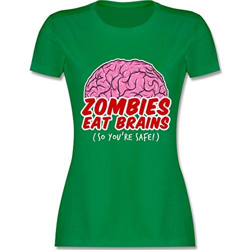 Shirtracer Halloween - Zombies Eat Brains - So You´re Safe! - Damen T-Shirt Rundhals Grün