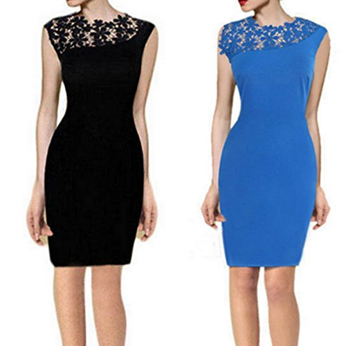 Smile YKK Spitze Damen Aermellos Bodycon Kleid Slim Fit Kleid Schlauch kleid Party Kleid Hellblau