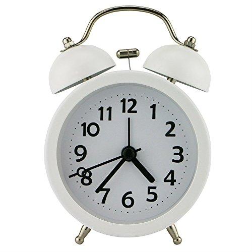 Ho Clock Mini Nicht-Tickende Vintage Klassische Nachttisch Wecker Tisch Mit Hintergrundbeleuchtung Reiseuhren Und Twin Laut Glocke Wecker,White