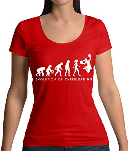 Evolution of Woman - Cheerleading - Damen T-Shirt mit Rundhalsausschnitt- Rot - L (Cheerdance Kostüm Rot)