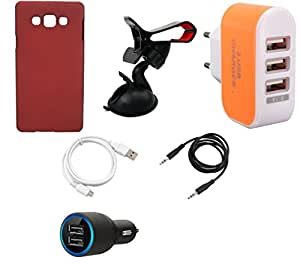 NIROSHA Cover Case Car Charger USB Cable Mobile Holder Charger for Samsung Galaxy A8 - Combo