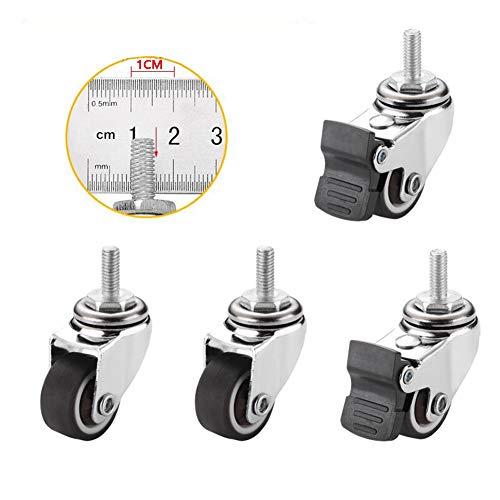 MuMa Rollen Räder 1 Zoll Dämpfergummischwenker Mit Bremsen Trolley Möbelrolle (4 Teile) (Farbe : 4 Packs, größe : 1 inch M6)