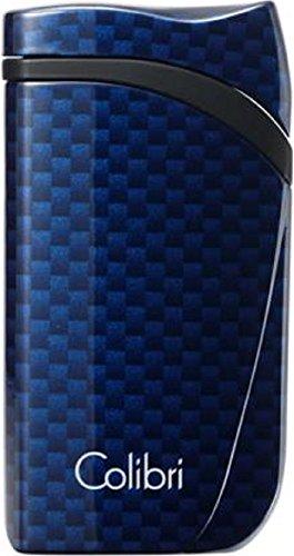Preisvergleich Produktbild COLIBRI Feuerzeug FALCON II Carbondesign blau Jet mit Schrägflamme