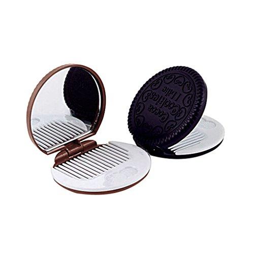 Zn-diseo-de-forma-de-galletas-espejo-de-maquillaje-peine-peine-de-chocolate-Juego-de-4-espejos-Random-Color