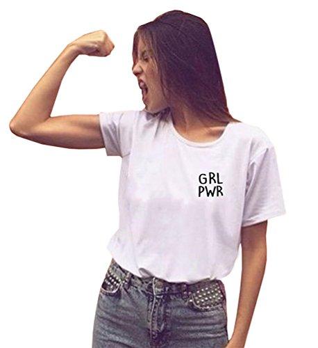 DANVOUY Las Mujeres Verano Casual Camiseta gráfica Letras Impresas Top de Manga Corta Cuello Redondo Blanco Small