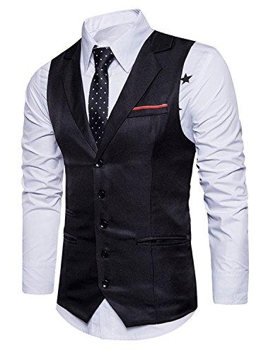YCHENG Hombre Sin Mangas Clásico Chaleco Vestir de Boda Casual Slim Fit Blazers Negro XL