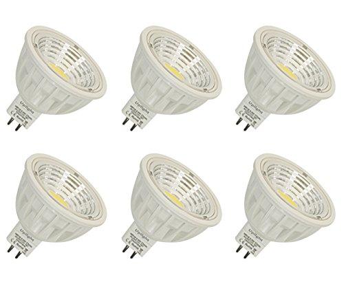 MR16 5.5W LED Lampe GU5.3 COB-Scheinwerfer Ersatz für 50-60W Halogenlampen, AC/DC12V, 550LM, 2700K WarmWeiß, Einbauleuchten, Strahler, Nicht Dimmbar LED Birnen RA90,90°Strahlwinkel, 6 Packs. -