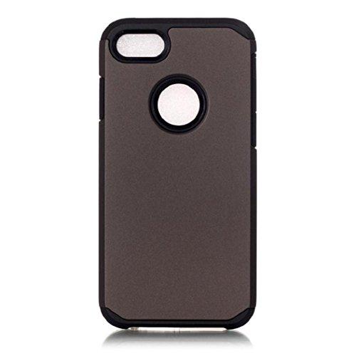 Koly De alta calidad PC + TPU caso de la cubierta de piel para el iPhone 7 de 4.7 pulgadas,gris oscuro
