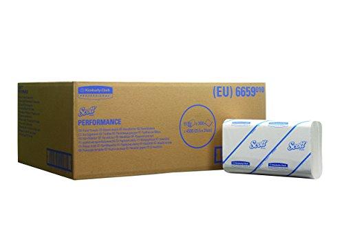 SCOTT* PERFORMANCE Interfold-Handtücher, 6659 - 15 Packungen x 300 weiße, kleine, 1-lagige Tücher. -