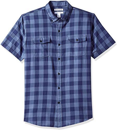 Amazon Essentials Herren Regular Fit-Hemd aus Baumwolltwill mit kurzen Ärmeln, Blau (Navy Buffalo Nbf), One Size (Herstellergröße: XS - XXL) -