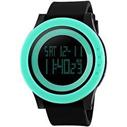 TTLIFE unisex watch mens waistwatchs Fashion Big Dial Sports Watches Silicone Watch Band Waterproof LED Digital Watch(green&black)
