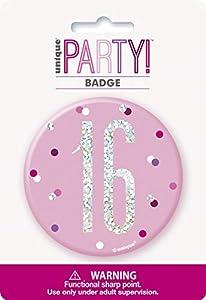 Unique Party 83529 - Insignia de cumpleaños, color rosa y plateado