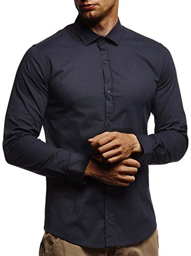 LEIF NELSON Herren Hemd Slim Fit Langarm Freizeithemd für Anzug Business Langarmshirt Kurzarm Shirt LN3430; XL, Dunkel Blau